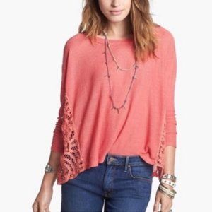 Free People Living Coral Crochet Love Me Do Top